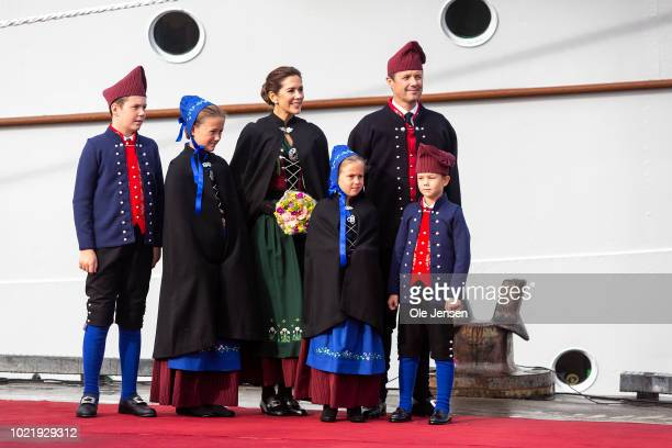 Crown Prince Frederik and Crown Princess Mary together with their four children during arrival with the Royal ship Dannebrog for a four days official...