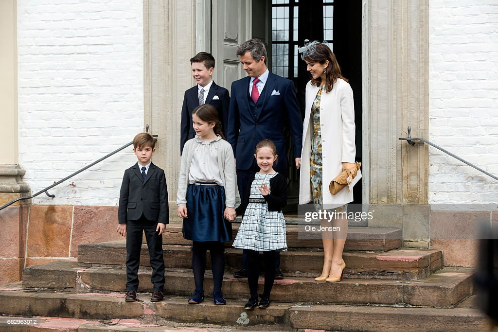 Crown Prince Frederik and Crown Princess Mary with their children during Prince Felix' confirmation at Fredensborg Palace church on April 1, 2017 in Fredensborg, Denmark. Prince Felix is 14 years old and number 8 in succession to the throne.