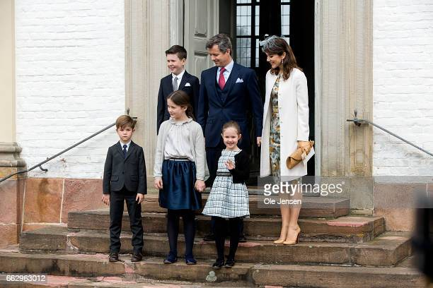 Crown Prince Frederik and Crown Princess Mary with their children during Prince Felix' confirmation at Fredensborg Palace church on April 1 2017 in...