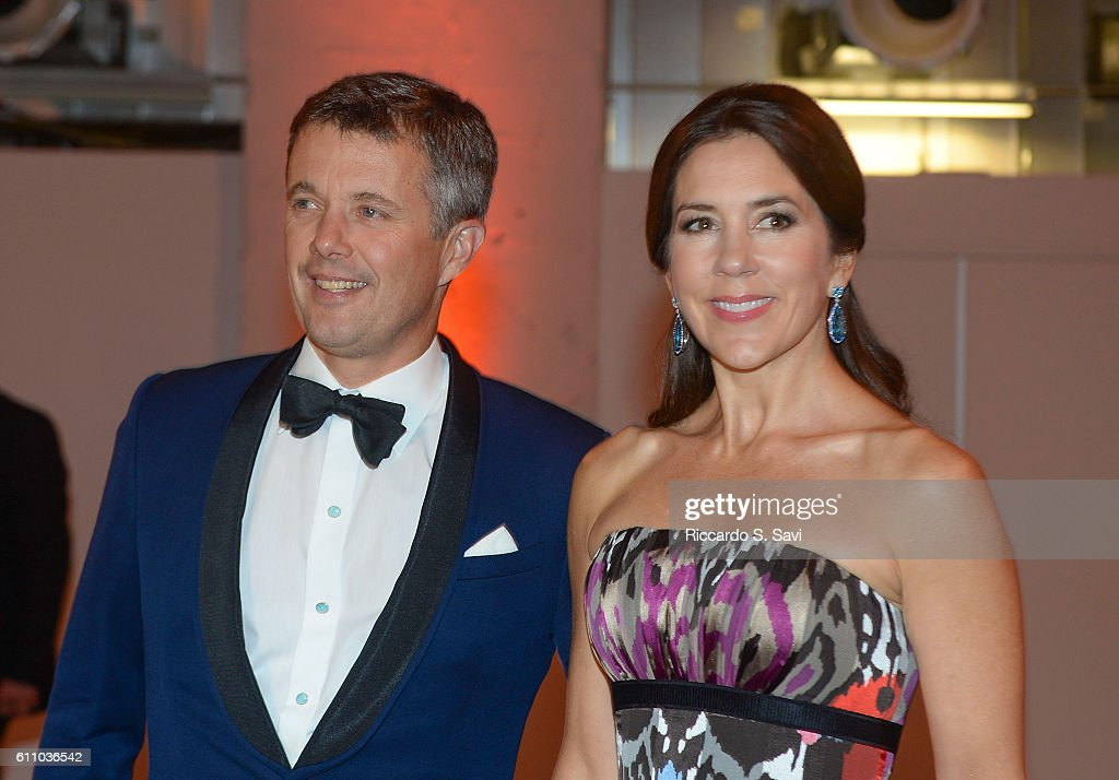 HRH Crown Prince Frederik and HRH Princess Mary of Denmark, arrive at the Smithsonian's Arts and Industry building for a Gala Ball, to celebrate the U.S. Denmark Trade Mission on September 28, 2016 in Washington, DC.