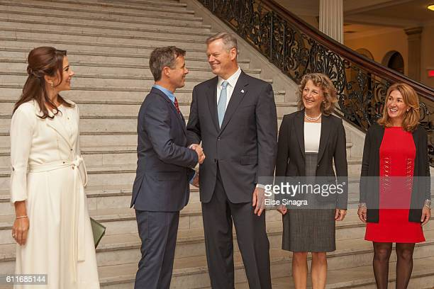 Crown Prince Frederik and HRH Princess Mary of Denmark arrive at the Massachusetts State House to meet with with Governor of Massachusetts on...