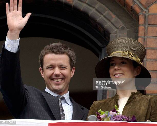 Crown Prince Frederik And Mary Donaldson Attending A Party To Celebrate Their Marriage At The Town Hall In Copenhagen