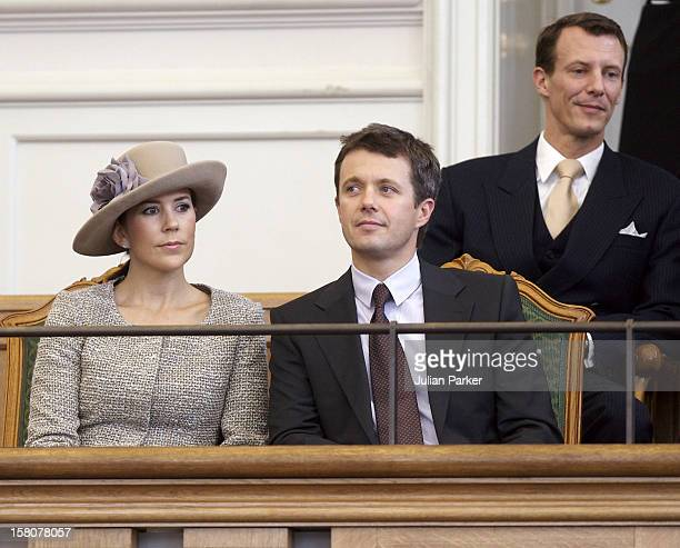 Crown Prince Frederik Crown Princess Mary And Prince Joachim Of Denmark Attend The Opening Of The Danish Parliament At Christiansborg Palace In...