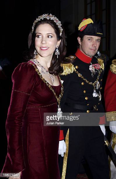 Crown Prince Frederik & Crown Princess Mary Attend The Traditional New Year Gala Dinner At Amalienborg Palace In Copenhagen, Denmark. .