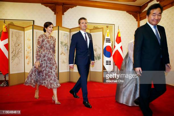 Crown Prince Frederik , Crown Princess Mary of Denmar k attend Banquet hosted by South Korean Prime Minister Lee Nak-yeon on May 20, 2019 at the...