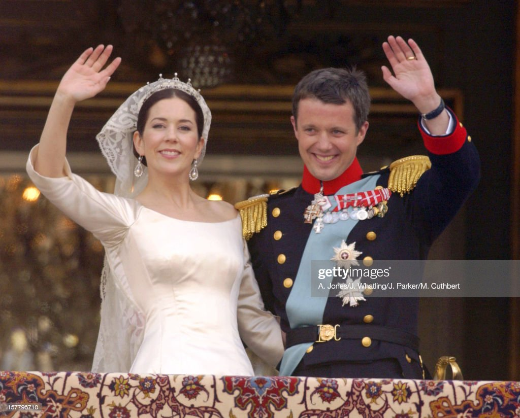 Crown Prince Frederik & Crown Princess Mary Of Denmark Appear On The Balcony Of Amalienborg Palace After Their Wedding.