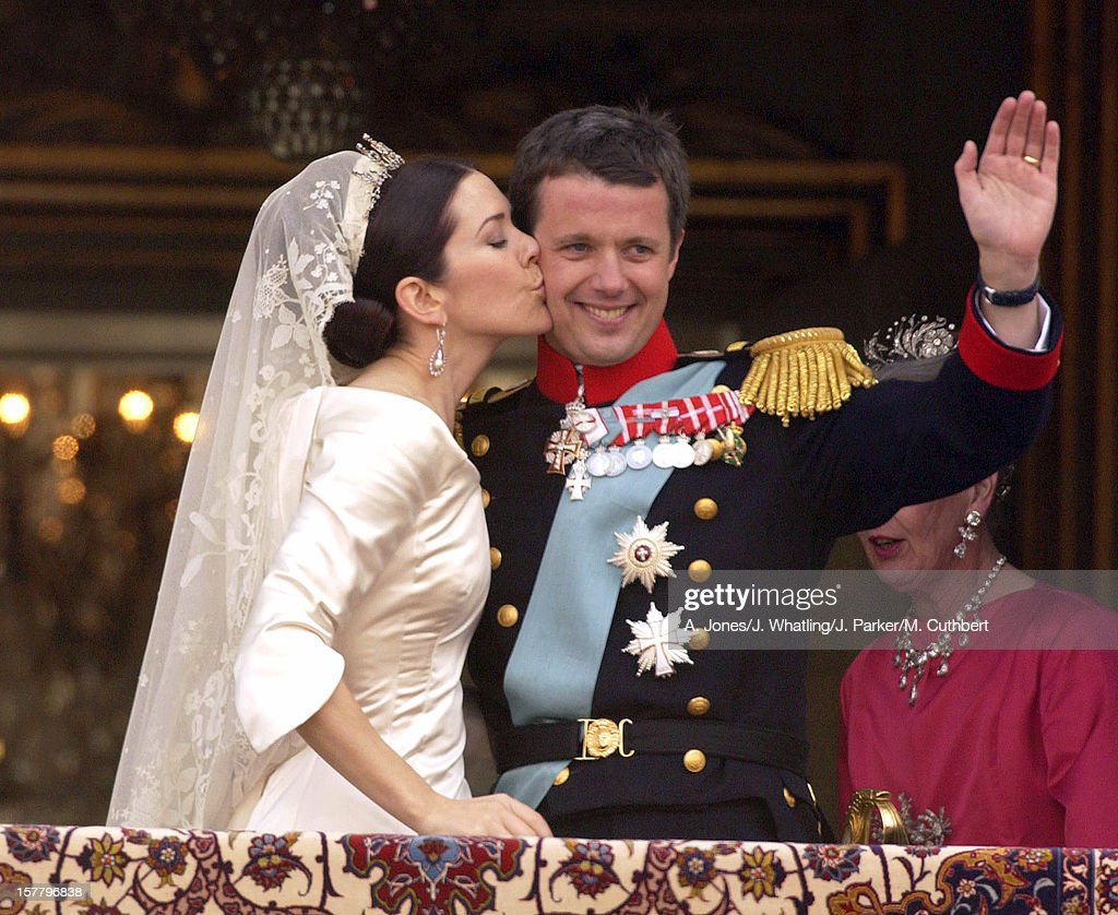 Crown Prince Frederik & Crown Princess Mary Appear On The Balcony Of Amalienborg Palace : News Photo