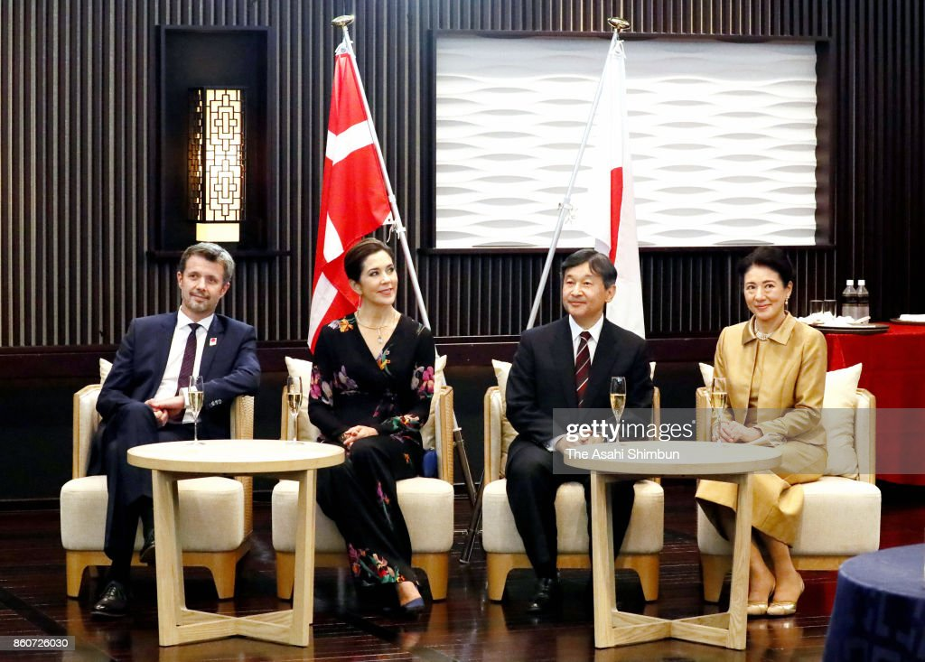 Crown Prince Frederik, Crown Princess Mary of Denmark, Japanese Crown Prince Naruhito and Crown Princess Masako attend the ceremony marking the 150th anniversary of the diplomatic relationship between Denmark and Japan at Meguro Gajoen on October 12, 2017 in Tokyo, Japan.