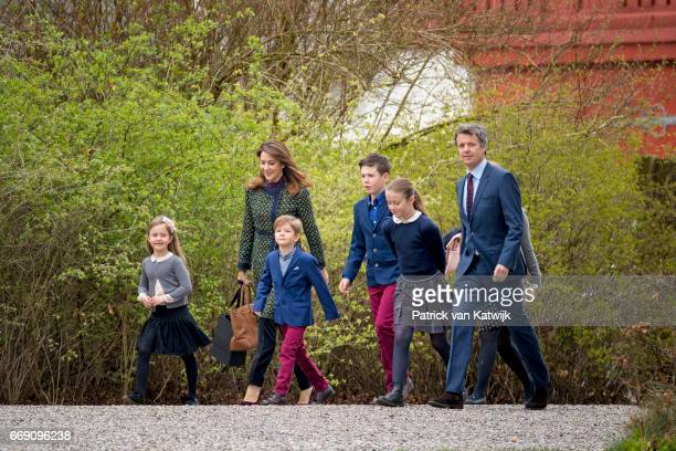 Crown Prince Frederik, Crown Princess Mary, Prince Christian, Princess Isabella, Prince Vincent and Princess Josephine attend the 77th birthday...