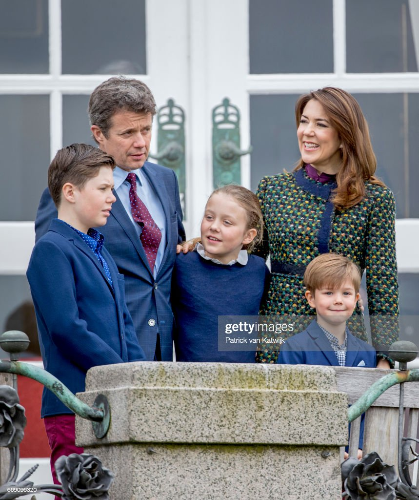 Crown prince Frederik, Crown Princess Mary, Prince Christian, Princess Isabella and Prince Vincent of Denmark attend the 77th birthday celebrations of Danish Queen Margrethe at Marselisborg Palace on April 16, 2017 in Aarhus, Denmark.