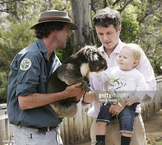 Crown Prince Frederik & his son Crown Prince Christian of Denmark pose with a koala at a photo call held at Bonorong Park Wildlife Centre at the...