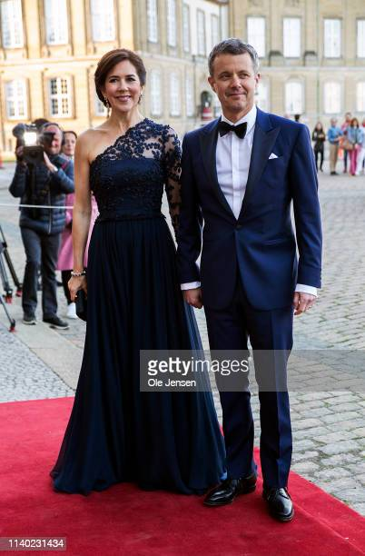 Crown Prince Frederik of Denmark and Crown Princess Mary arrive at Princess Benedikte of Denmarks 75th birthday party hosted by Queen Margrethe of...
