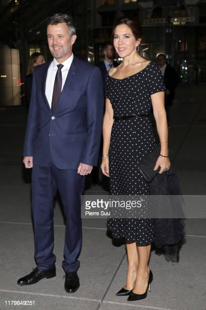 Crown Prince Frederik of Denmark and Crown Princess Mary of Denmark are seen at 'La Grande Arche' on day one of the Royal Visit on October 07, 2019...