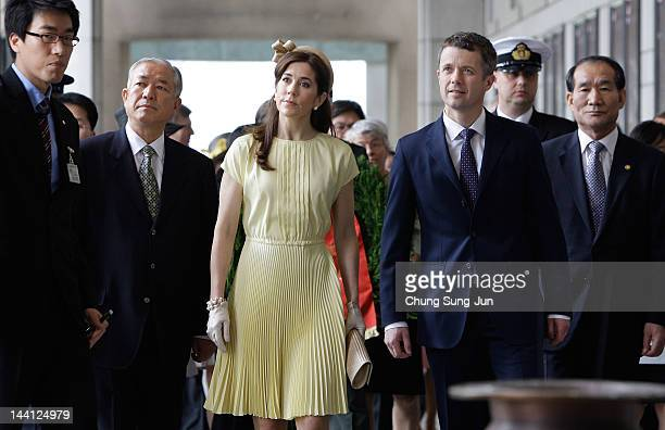 Crown Prince Frederik of Denmark and Crown Princess Mary of Denmark visit the War Memorial of Korea on May 10, 2012 in Seoul, South Korea. The Crown...