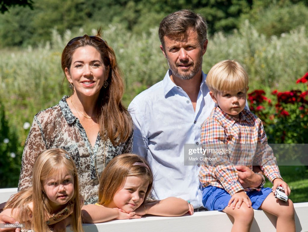 Crown Prince Frederik of Denmark and Crown Princess Mary of Denmark with Princess Isabella of Denmark, Prince Vincent of Denmark and Princess Josephine of Denmark attend the annual Summer photo call for the Royal Danish family at Grasten Castle on July 24, 2014 in Grasten, Denmark.