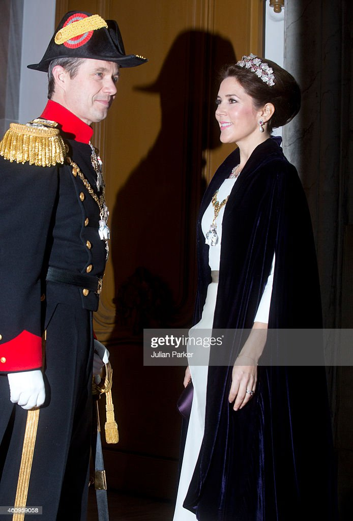 Crown Prince Frederik of Denmark and Crown Princess Mary of Denmark attend a New Years Levee and Banquet at Christian VII's Palace on January 1, 2015 in Copenhagen, Denmark.