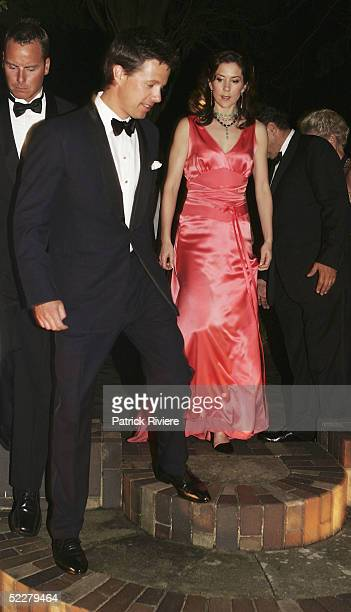 Crown Prince Frederik of Denmark and Crown Princess Mary of Denmark arrive at the Victor Chang Cardiac Institute Ball at Boomerang March 5 2005 in...