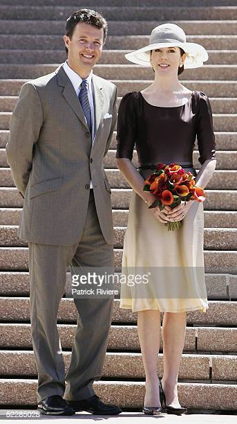Crown Prince Frederik of Denmark and Crown Princess Mary of Denmark pose on the steps of the Sydney Opera House March 7 2005 in Sydney Australia...