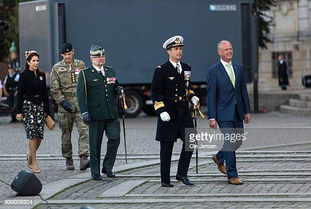 Crown Prince Frederik of Denmark and Crown Princess Mary of Denmark attends the Flag Day parade for international deployed military personel veterans...