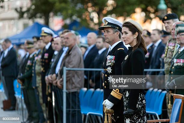Crown Prince Frederik of Denmark and Crown Princess Mary of Denmark attend the Flag Day parade for international deployed military personel veterans...