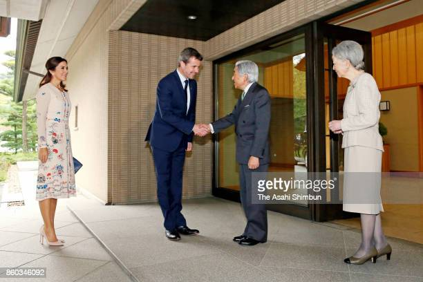 Crown Prince Frederik of Denmark and Crown Princess Mary of Denmark are welcomed by Emperor Akihito and Empress Michiko prior to their luncheon at...