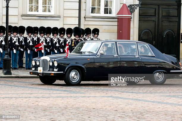 Crown Prince Frederik of Denmark and Crown Princess Mary of Denmark arrive at Amalienborg as the second car behind the hearse with the coffin of...
