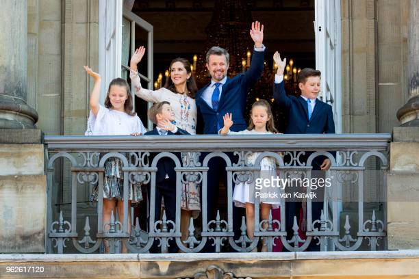 Crown Prince Frederik of Denmark and Crown Princess Mary of Denmark with Prince Christian of Denmark, Princess Isabella of Denmark, Prince Vincent of...