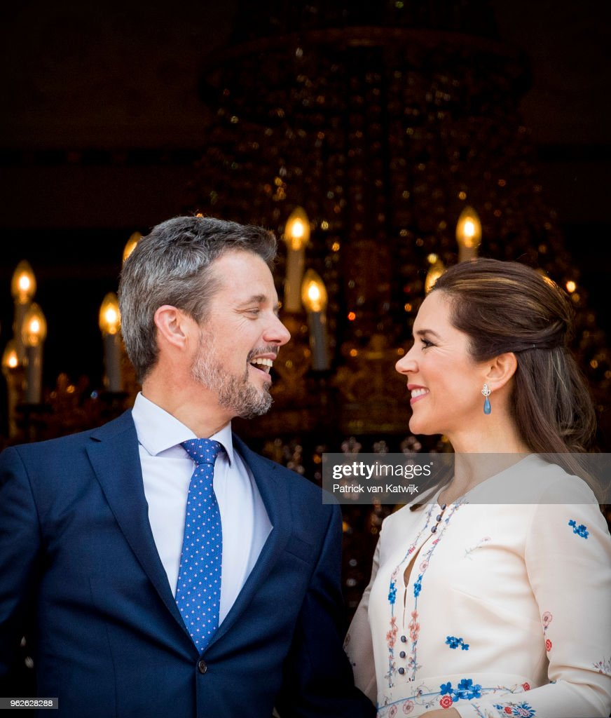 Crown Prince Frederik Of Denmark Receives From The Palace Balcony The People's Homage On His 50th Birthday : News Photo