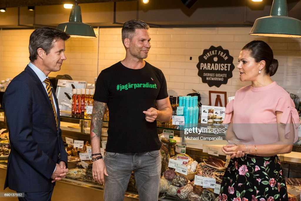Crown Prince Frederik of Denmark and Crown Princess Victoria of Sweden are seen visting Paradiset, an organic grocery store, on May 30, 2017 in Stockholm, Sweden.