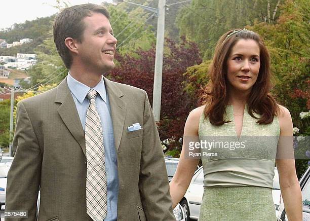 Crown Prince Frederik of Denmark and his Tasmanianborn fiancee Mary Donaldson arrive for Ms Donaldson's sister Patricia's wedding January 17 2004 in...