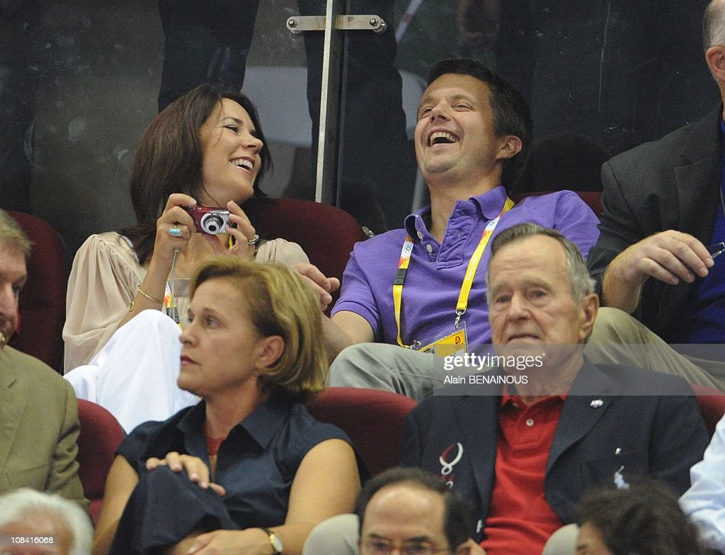 At the Beijing Olympic Games 2008th, Crown Prince Frederik of Denmark and his wife Crown Princess Mary during a preliminary basketball match in Beijing, China on August 10th, 2008. : News Photo