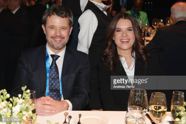 Crown Prince Frederik of Denmark and Katarina Witt attend the IOC President's Dinner ahead of the PyeongChang 2018 Winter Olympic Games on February 8...
