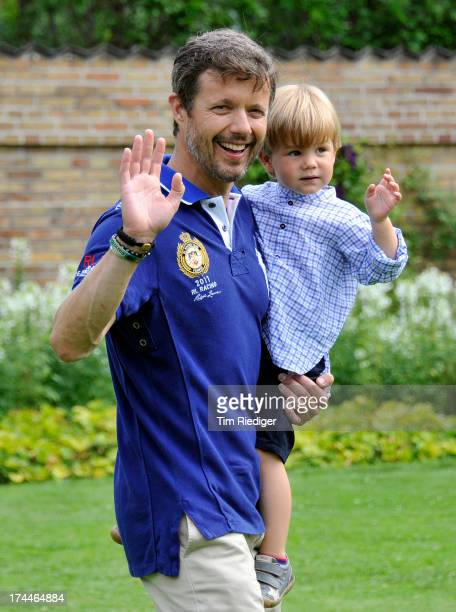 Crown Prince Frederik of Denmark and Prince Vincent of Denmark attend the annual Summer photocall for the Royal Danish family at Grasten Castle on...