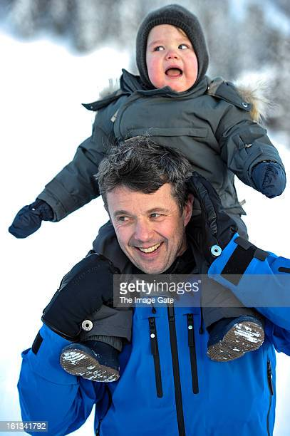 Crown Prince Frederik of Denmark and Prince Vincent of Denmark meet the press whilst on skiing holiday on February 10 2013 in Verbier Switzerland