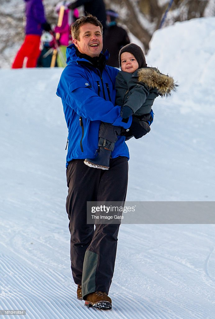 Crown Prince Frederik of Denmark and Prince Vincent of Denmark meet the press, whilst on skiing holiday on February 10, 2013 in Verbier, Switzerland.