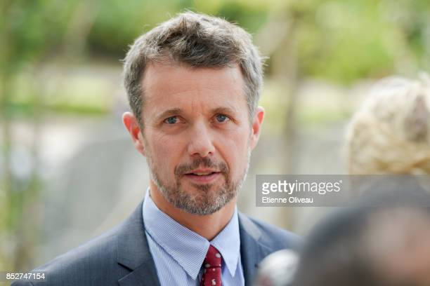 Crown Prince Frederik of Denmark answers journalists after his visit to the Tsinghua Life Long Learning Lab TULL dedicated to promotion research in...