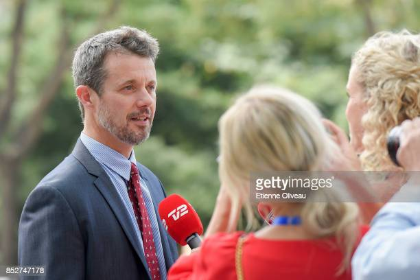 Crown Prince Frederik of Denmark answers journalists after his visit to the Tsinghua Life Long Learning Lab, TULL dedicated to promotion research in...
