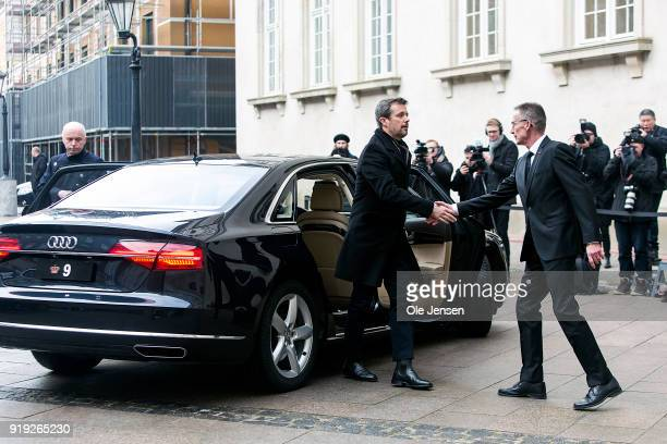 Crown Prince Frederik of Denmark arrives at Christiansborg Palace Church where the corpse of Prince Henrik lies in state on February 17, 2018 in...