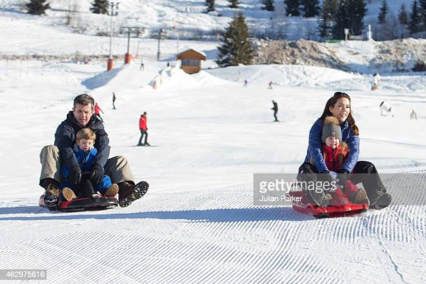 Crown Prince Frederik of Denmark, Crown Princess Mary of Denmark, Prince Vincent and Princess Josephine of Denmark attend a Photocall during their...