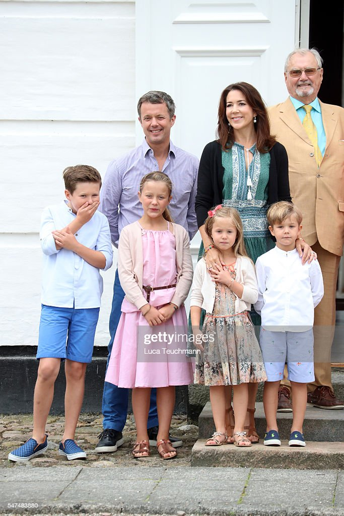 Crown Prince Frederik of Denmark, Crown Princess Mary of Denmark, Prince Henrik of Denmark, Prince Christian of Denmark, Princess Isabella of Denmark, Princess Josephine of Denmark and Prince Vincent of Denmark pose for photographers at the annual summer photo call for The Danish Royal Family at Grasten Castle on July 15, 2016 in Grasten, Denmark.