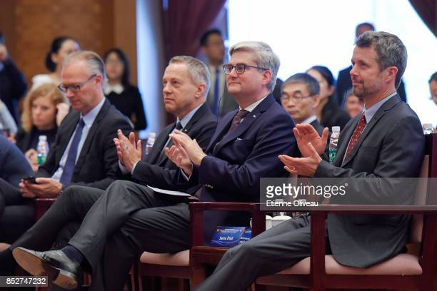 Crown Prince Frederik of Denmark, Danish Minister of Higher Education, Soren Pind and The Ambassador of Danmark, A. Carsten Damsgaard attend the...