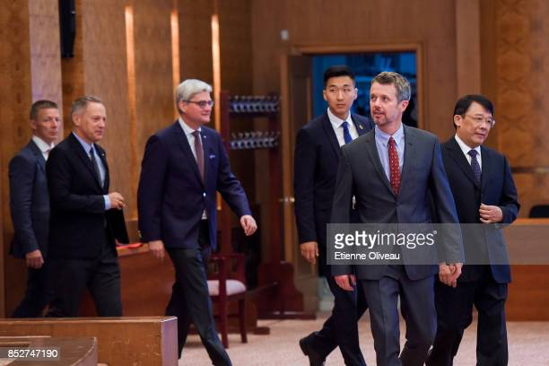 Crown Prince Frederik of Denmark followed by Danish Minister of Higher Education, Soren Pind and The Ambassador of Danmark, A. Carsten Damsgaard...