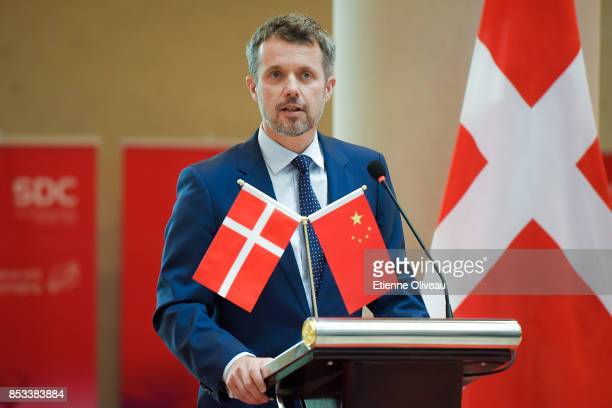 Crown Prince Frederik of Denmark holds a speech during the Official inauguration of the new SDCbuilding on September 25 2017 at the Yanqi Lake...