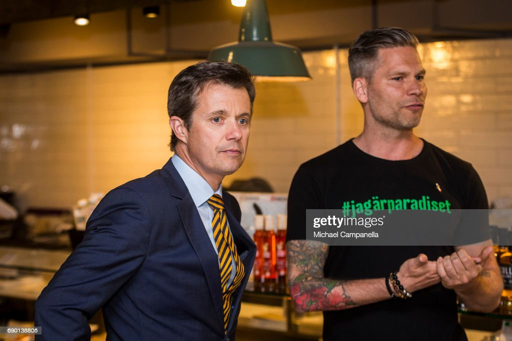 Crown Prince Frederik of Denmark is seen visting Paradiset, an organic grocery store, on May 30, 2017 in Stockholm, Sweden.