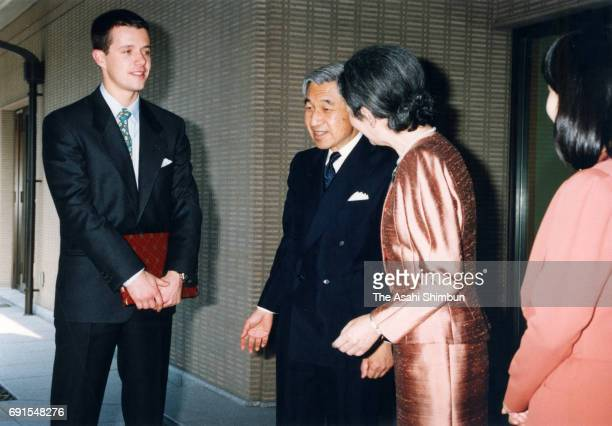 Crown Prince Frederik of Denmark is welcomed by Emperor Akihito Empress Michiko and Princess Sayako prior to their luncheon at the Imperial Palace on...