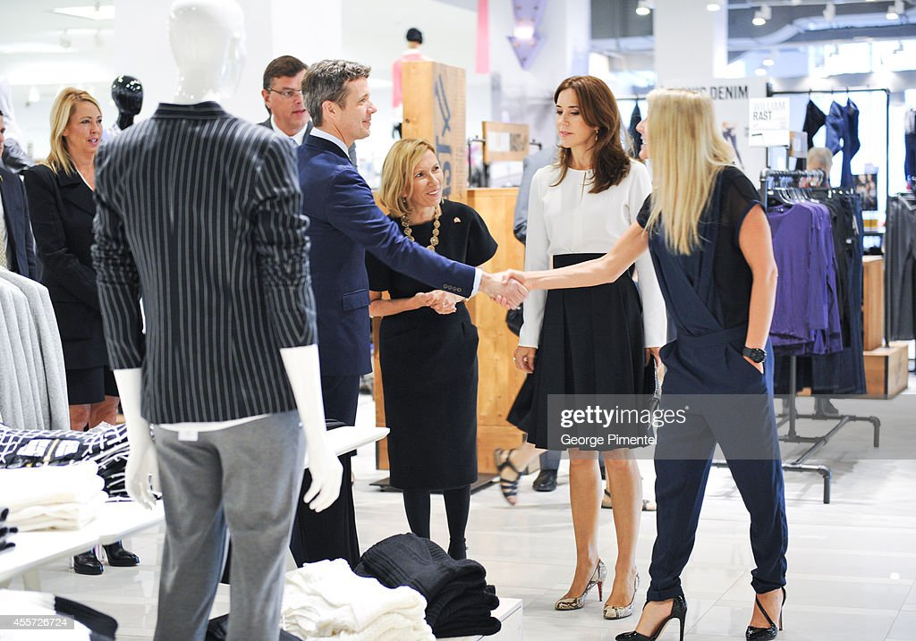 Crown Prince Frederik of Denmark, Liz Rodbell, President of Hudson's Bay and Crown Princess Mary of Denmark attend official visit to Canada - Day 3 at The Hudson's Bay on September 19, 2014 in Toronto, Canada.