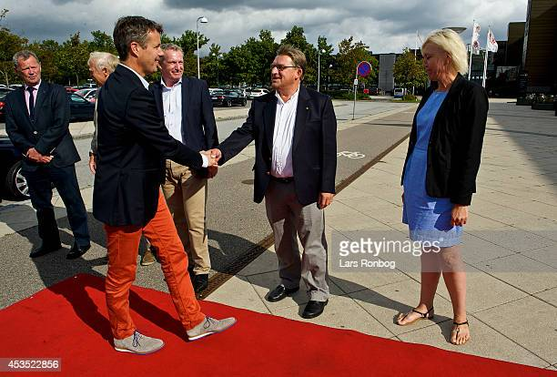 Crown Prince Frederik of Denmark meets Arne Jensen member of the Board of Badminton Denmark ahead of his visit to the Danish National Badminton Team...