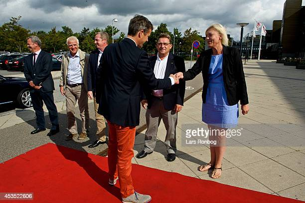 Crown Prince Frederik of Denmark meets Charlotte Malmroes CEO of Badminton Danmark ahead of his visit to the Danish National Badminton Team training...