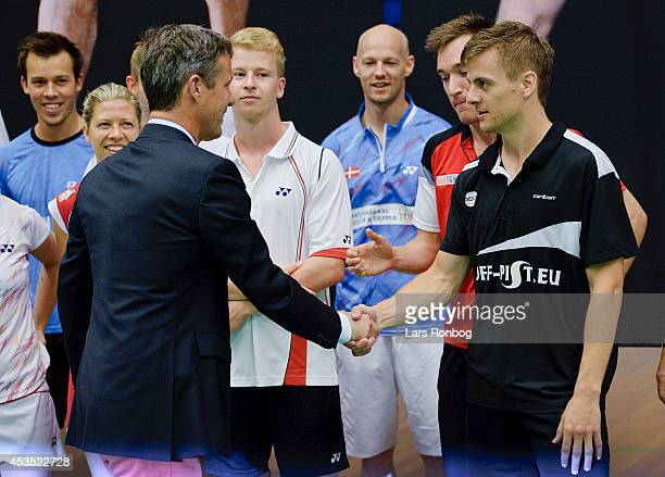 Crown Prince Frederik of Denmark meets HansKristian Vittinghus during the Danish National Badminton Team training ahead of the Badminton World...