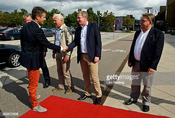 Crown Prince Frederik of Denmark meets Lars Lundov CEO of Sport Event Denmark ahead of his visit to the Danish National Badminton Team training ahead...
